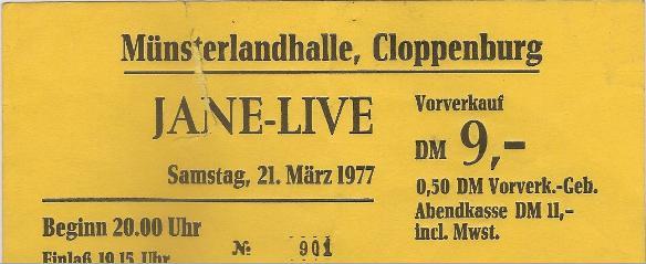 Jane - Eintrittskarte vom 21.03.1977 - Münsterlandhalle Cloppenburg