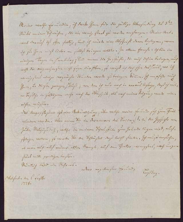 Brief von Lessing
