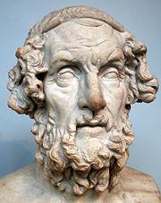 Homer, der überlieferte Verfasser der Ilias; römische Kopie aus dem 2. Jahrhundert n. Chr. eines hellenistischen Originals. British Museum, London.